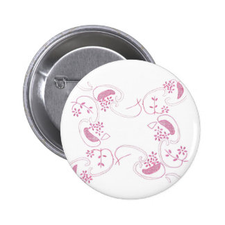 Pink Flowers On White 2 Inch Round Button