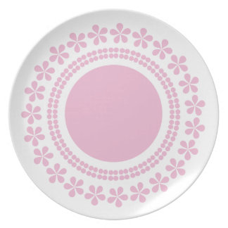 Pink flowers on white lovely plate