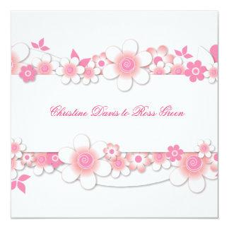 Pink flowers on white, wedding invitation