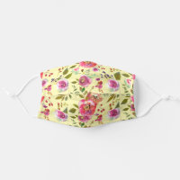 Pink Flowers On Yellow Cloth Face Mask