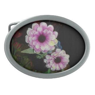 Pink Flowers Oval Belt Buckle