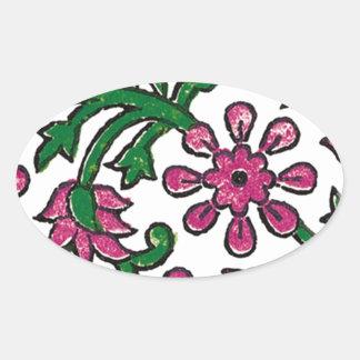 pink-flowers oval sticker