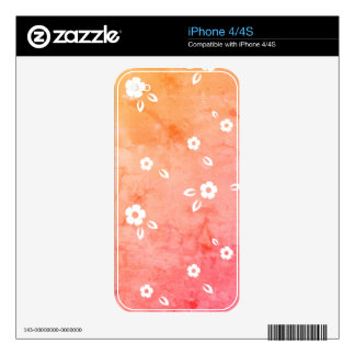 Pink flowers pattern decal for iPhone 4S