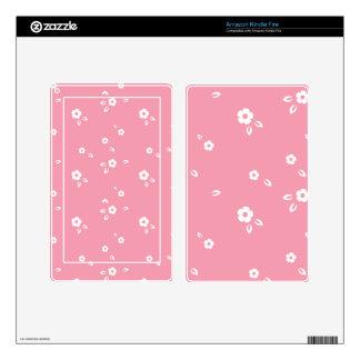 Pink flowers pattern kindle fire skin