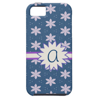Pink Flowers Pattern on Blue Iphone 5 Case