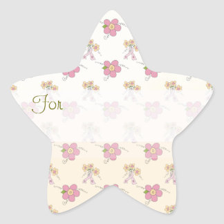 Pink Flowers Patterned Gift Tag Star Sticker