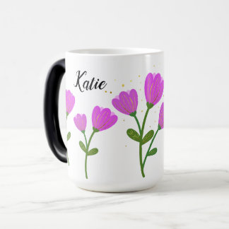 Pink Flowers Personalized Mug