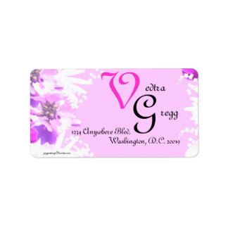 Pink Flowers Personlized Label