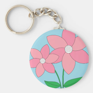 Pink Flowers Picture Keychain