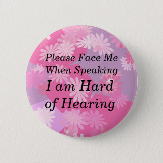 Pink Flowers Please Face Me Button