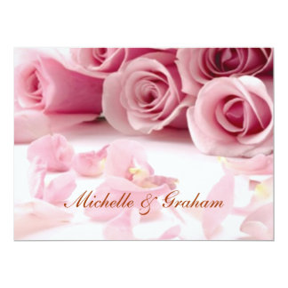 Pink Flowers Popular Elegant Wedding Invitation