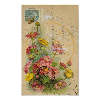 Pink Flowers Postcard Digital Art Poster
