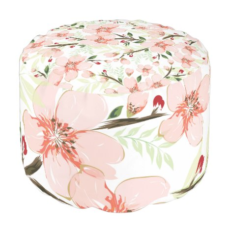 Pink flowers pouf