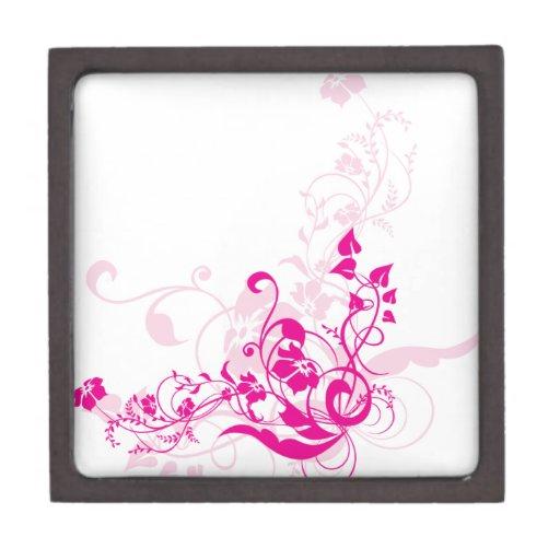 Pink flowers premium jewelry boxes