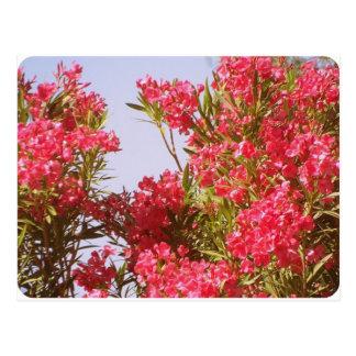 Pink flowers retro style postcard