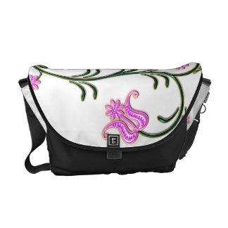 Pink Flowers Rickshaw Messenger Bag