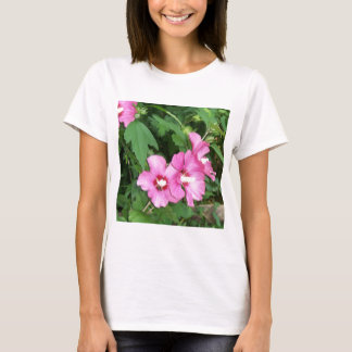 Pink Flowers Rose of Sharon with Bee T-Shirt