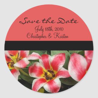 Pink Flowers Save the Date Sticker