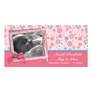 Pink Flowers Scrap Style Photo Card