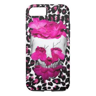 Pink Flowers Skull on Pink Leopard Spots iPhone 8/7 Case