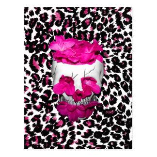 Pink Flowers Skull on Pink Leopard Spots Postcard