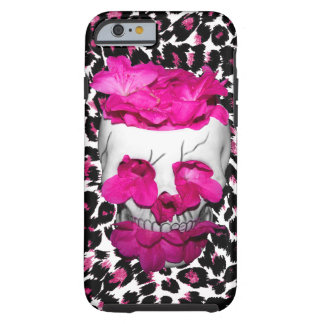 Pink Flowers Skull on Pink Leopard Spots Tough iPhone 6 Case