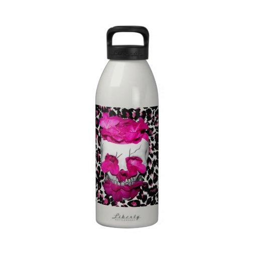 Pink Flowers Skull on Pink Leopard Spots Drinking Bottles