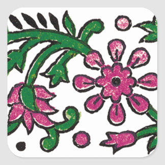 pink-flowers square sticker