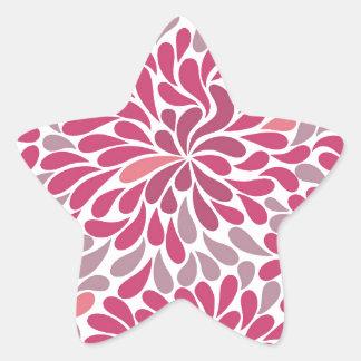 pink flowers star sticker