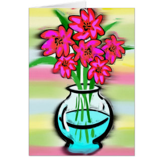 Pink Flowers Stationery Note Card