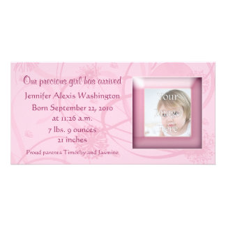 Pink Flowers Swirls Birth Announcement Photocard Photo Card