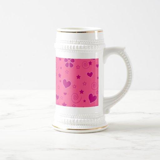 Pink flowers swirls hearts stars mugs