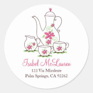 Pink Flowers Tea Set Address Labels