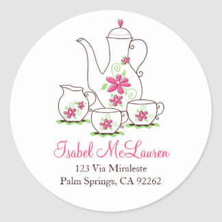 Pink Flowers Tea Set Address Labels Round Stickers