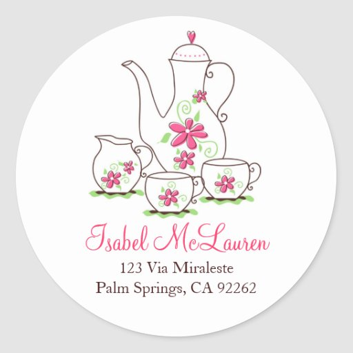Pink Flowers Tea Set Address Labels Classic Round Sticker