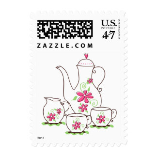 Pink Flowers Tea Set Custom Postage