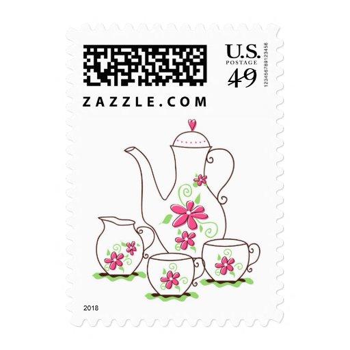 Pink Flowers Tea Set Custom Postage