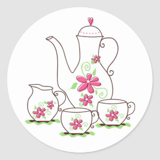 Pink Flowers Tea Set Stickers
