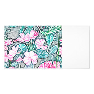 pink flowers teal leaves sketch pretty floral photo card template