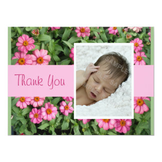 Pink Flowers Thank you 6.5x8.75 Paper Invitation Card