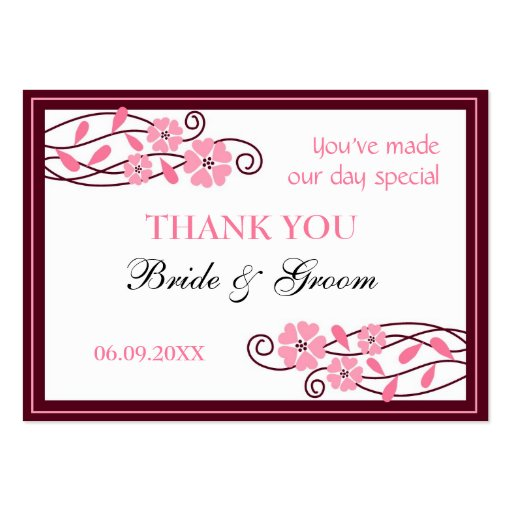 Thank U Cards For Wedding Gifts : Pink Flowers Thank You Wedding Favor Gift Tags Large Business Cards ...