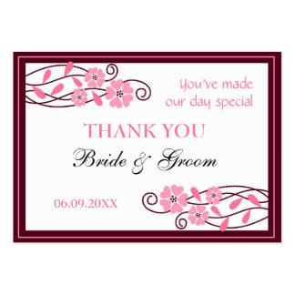 Pink Flowers Thank You Wedding Favor Gift Tags Business Cards