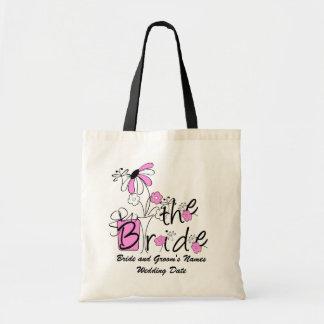 Pink Flowers The Bride Custom Tote Bag