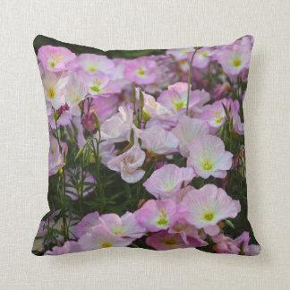 Pink flowers throw cushion