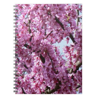 Pink flowers tree blossom spring spiral notebook