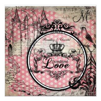 Pink Flowers Unconditional Love Wedding Invite