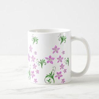 pink flowers vector art coffee mug