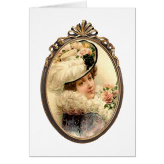 Pink Flowers Victorian Lady Blank Card
