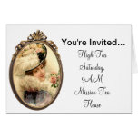 Pink Flowers Victorian Lady Card