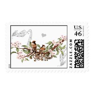 Pink Flowers Vintage Love Birds Wedding Stamps stamp